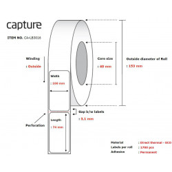 Capture Label 100x74, Core 40, Reference: CA-LB3016