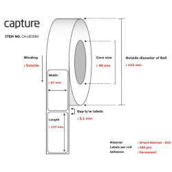 Capture Label 87x127, Core 40, Reference: CA-LB3084